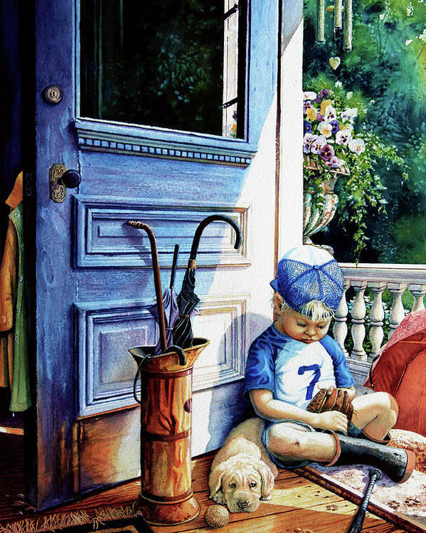 Child Baseball Poster featuring the painting Rain Rain Go Away by Hanne Lore Koehler