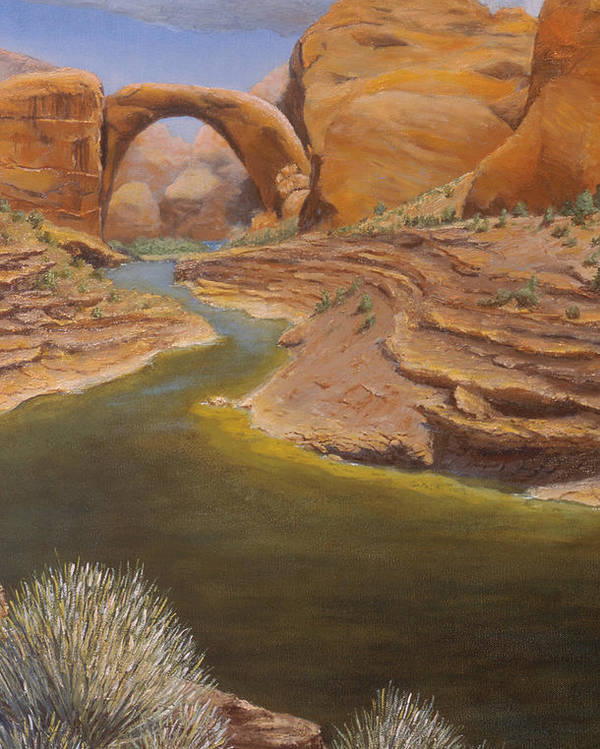 Rainbow Bridge Poster featuring the painting Rainbow Bridge by Jerry McElroy