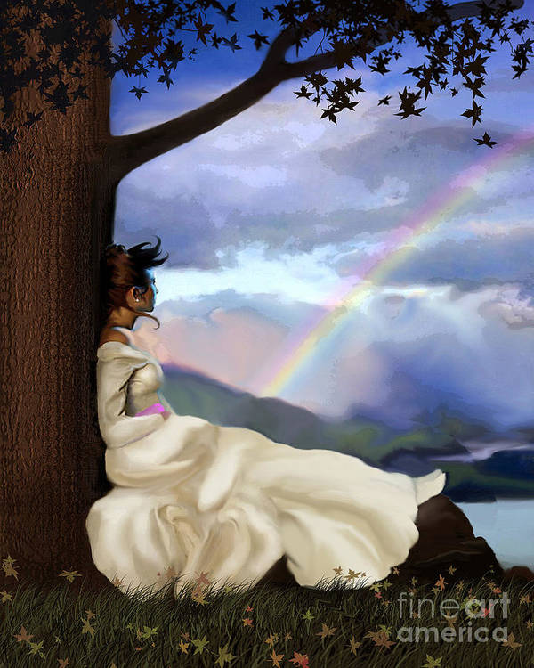 Landscape Poster featuring the painting Rainbow Dreamer by Robert Foster