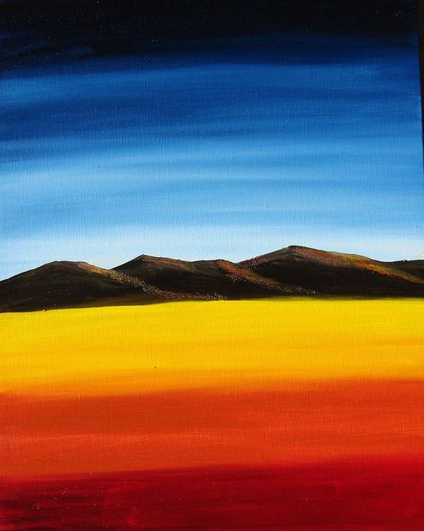 Mountains Poster featuring the painting Rainbow Mountains by Liz Vernand