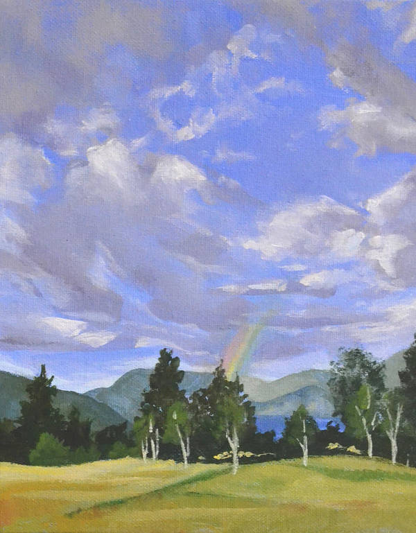 Clouds Poster featuring the painting Rainbow's End by Mary Chant