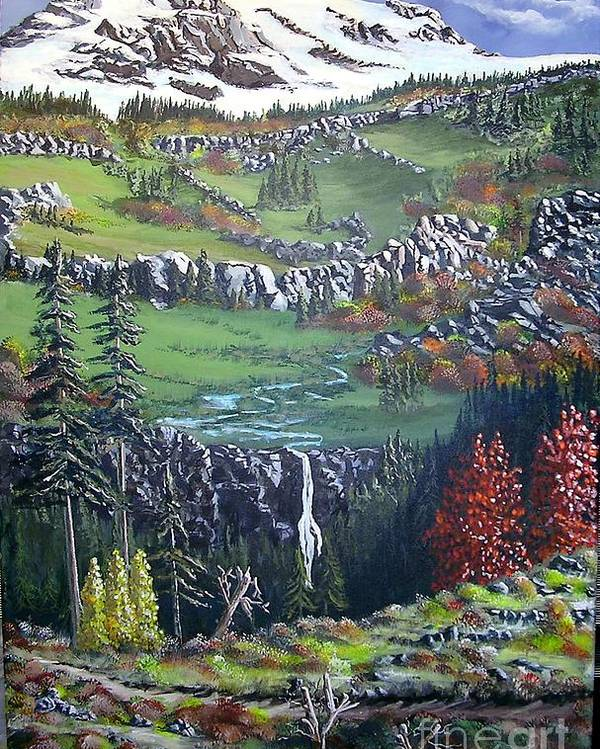 Landscape Poster featuring the painting Rainier In Fall by John Wise