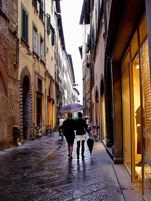 Rainy Day Shopping In Italy Poster featuring the photograph Rainy Day Shopping In Italy 2 by Nancy Bradley