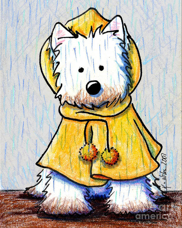 Dog Poster featuring the drawing Rainy Day Westie by Kim Niles