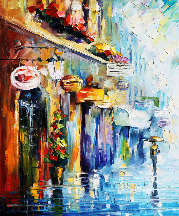 Afremov Poster featuring the painting Rainy Stroll by Leonid Afremov
