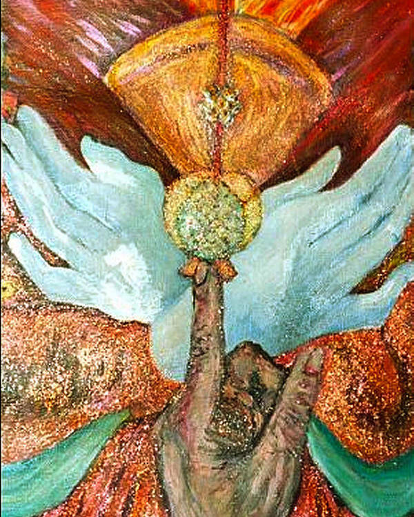 Spiritual Poster featuring the painting Raise It Golden by Stephen Mead