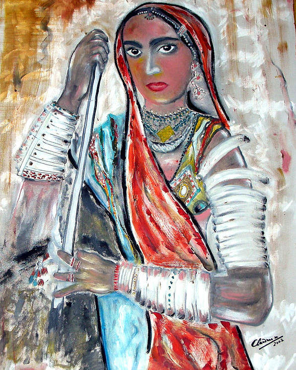 Woman Poster featuring the painting Rajasthani Woman by Narayanan Ramachandran