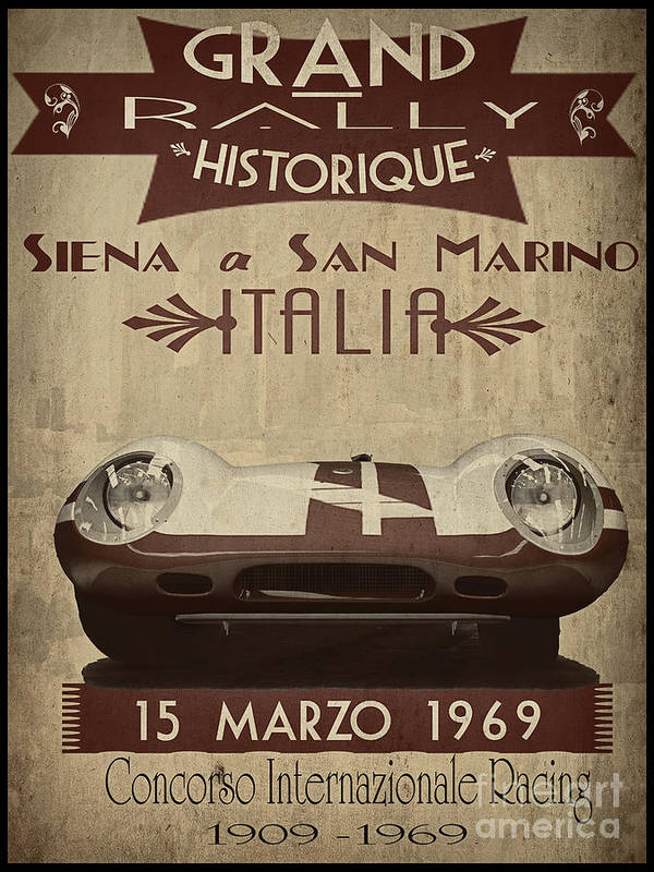 Vintage Poster featuring the painting Rally Italia by Cinema Photography