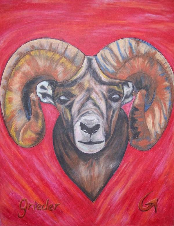 Poster featuring the pastel Ram by Donald Grieder II