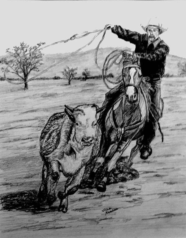 Pencil Poster featuring the drawing Ranch Work by Stan Hamilton