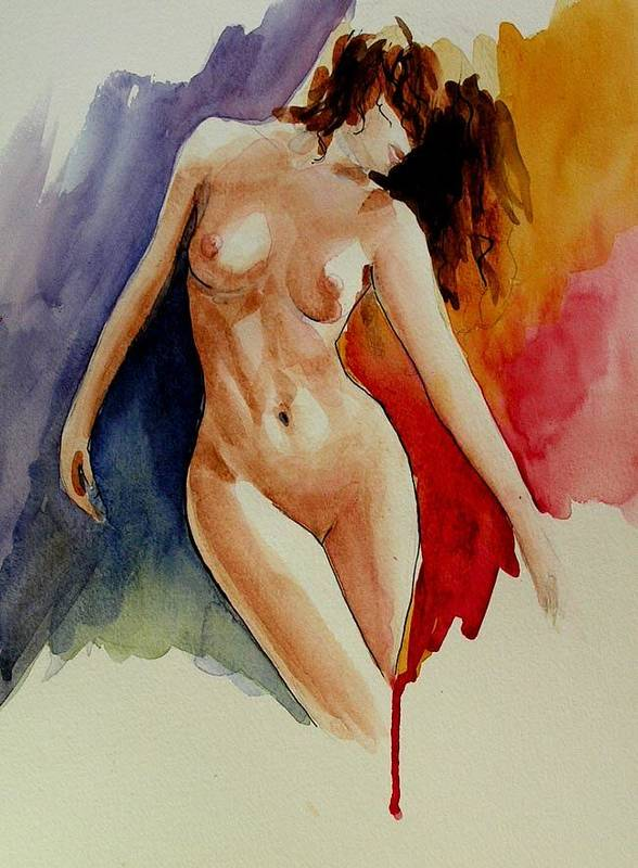 Original Aquarell Watercolor Painting Nude Art Female Women Colorful Portrait Figurative Erotic Elena Demidov Poster featuring the painting Rapsody 1 by Anna Wigandt