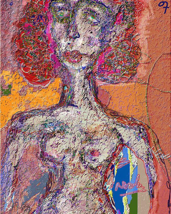 Nude Poster featuring the mixed media Rashida by Noredin Morgan