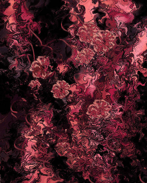 Abstract Poster featuring the digital art Ravaged Heart by Rachel Christine Nowicki