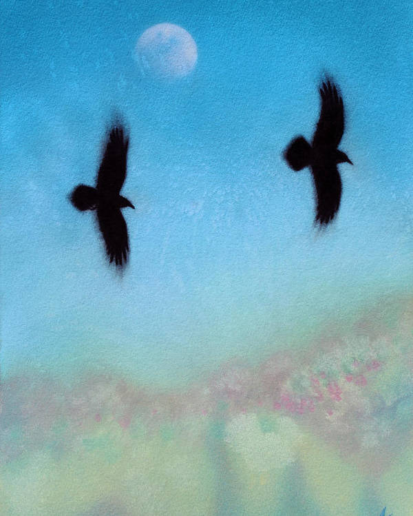 Raven Poster featuring the painting Raven Pair with Diurnal Moon by Robin Street-Morris