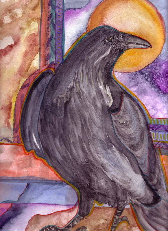 Wildlife Poster featuring the painting Raven Steals Sunlight by K Hoover