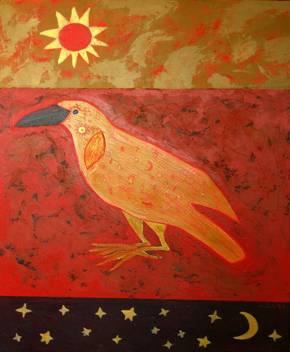 Native American Poster featuring the painting Raven Steals The Light by Aliza Souleyeva-Alexander