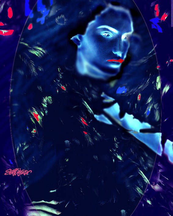 A Bizarre Evil Witch Flies With The Ravens Poster featuring the digital art Raven Woman by Seth Weaver