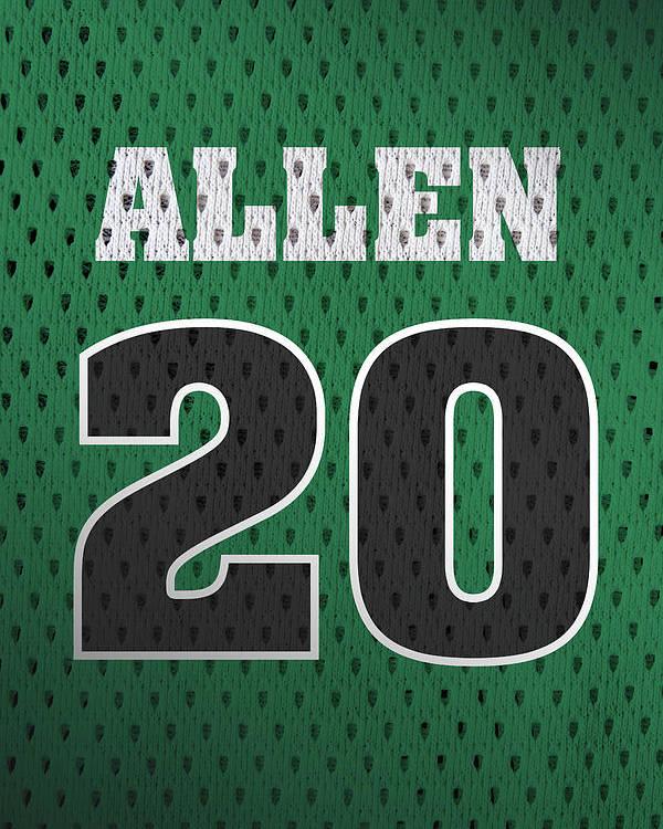 new product d231c 3119a Ray Allen Boston Celtics Retro Vintage Jersey Closeup Graphic Design Poster