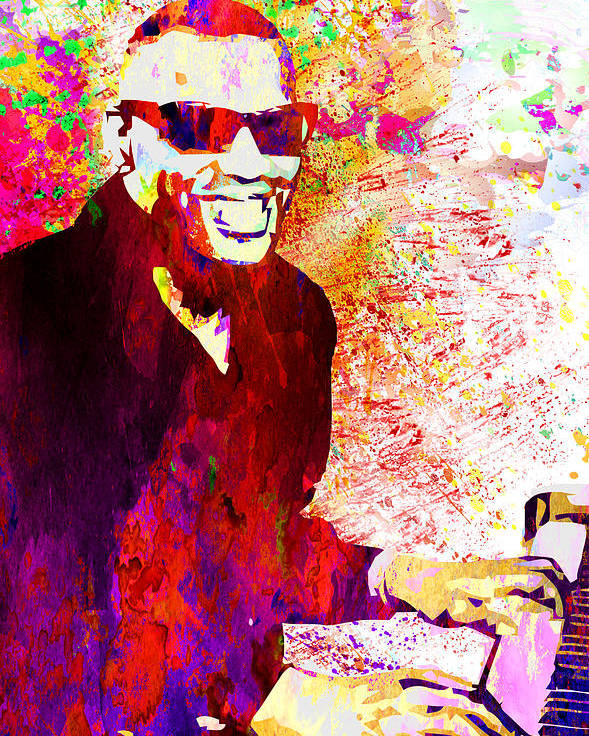 Louis Armstrong Poster featuring the digital art Ray Charles by Elena Kosvincheva