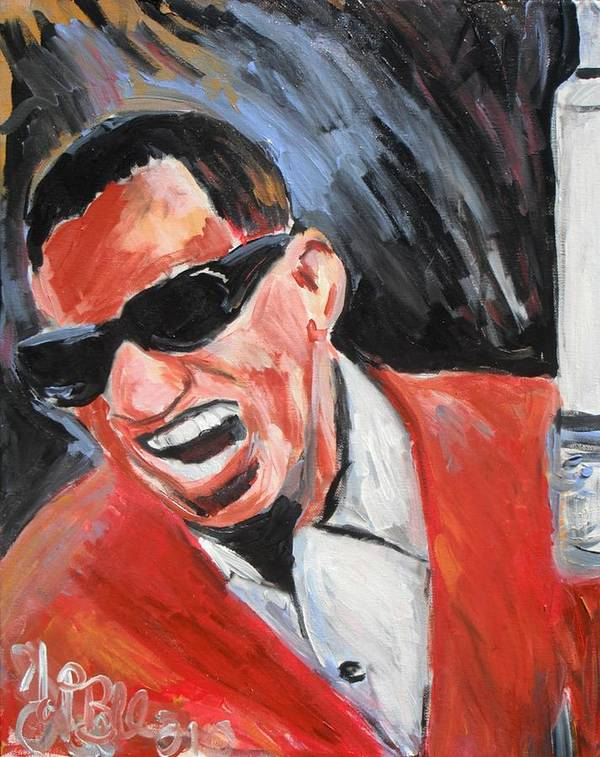 Soul Music Poster featuring the painting Ray Charles by Jon Baldwin Art