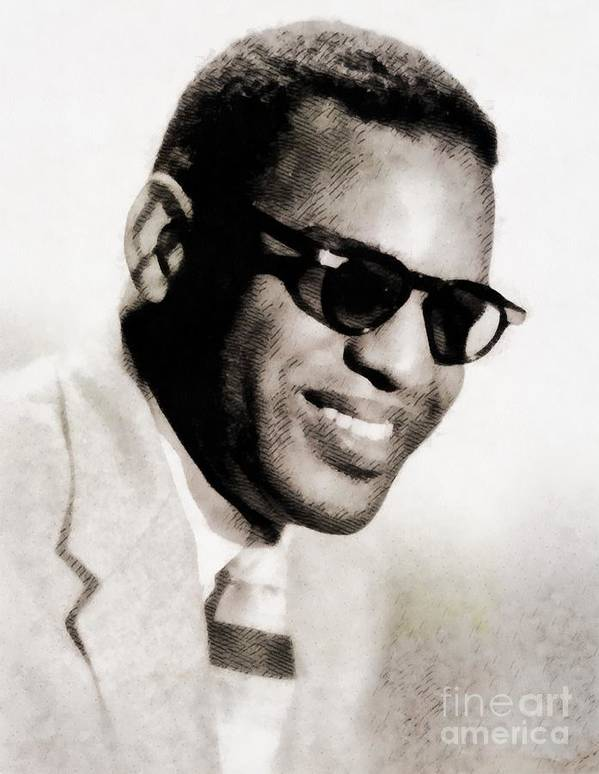 Hollywood Poster featuring the painting Ray Charles, Music Legend by Esoterica Art Agency