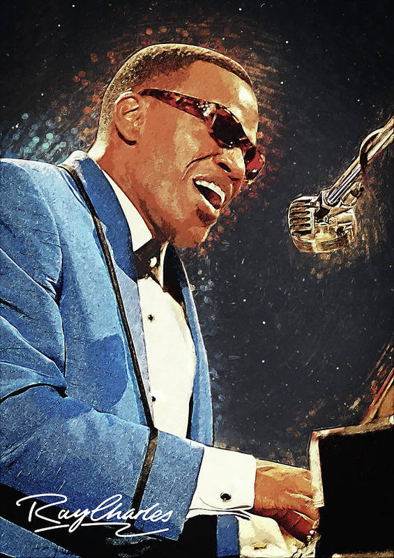Ray Charles Poster featuring the digital art Ray Charles by Zapista OU