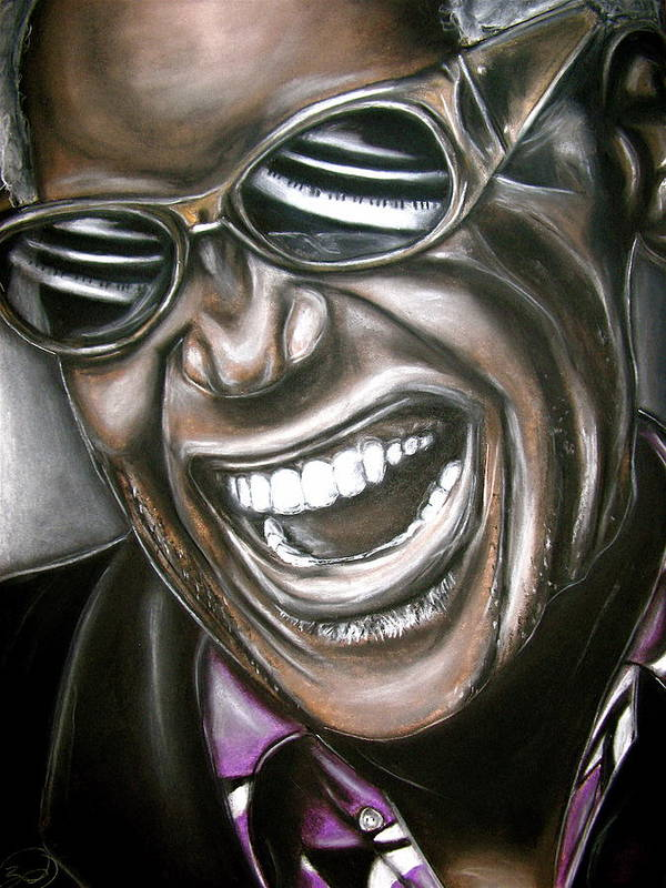Ray Poster featuring the drawing Ray Charles by Zach Zwagil