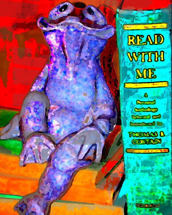 Poster featuring the digital art Read With Me Frog by Danielle Stephenson