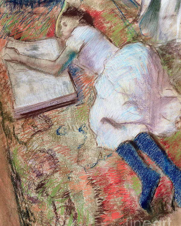Girl; Reading; Reclining; Impressionist; Book; Interior; Impressionism Poster featuring the pastel Reader Lying Down by Edgar Degas