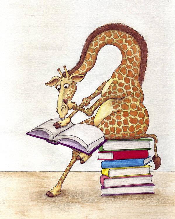 Giraffe Poster featuring the mixed media Reading Giraffe by Julia Collard
