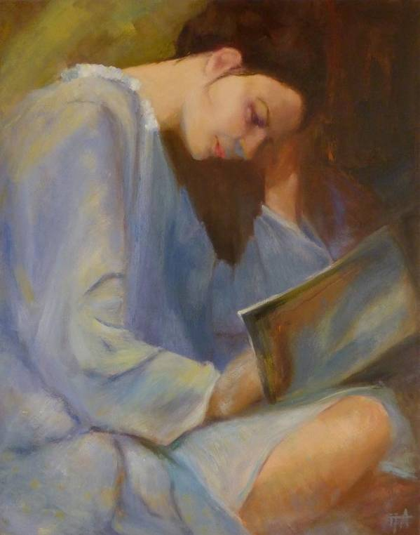 Figure Poster featuring the painting Reading in the Blue Robe II by Irena Jablonski