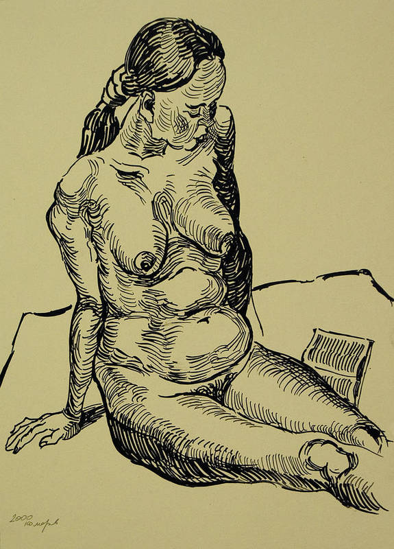 Woman Poster featuring the drawing Reading Naked Woman by Vitali Komarov