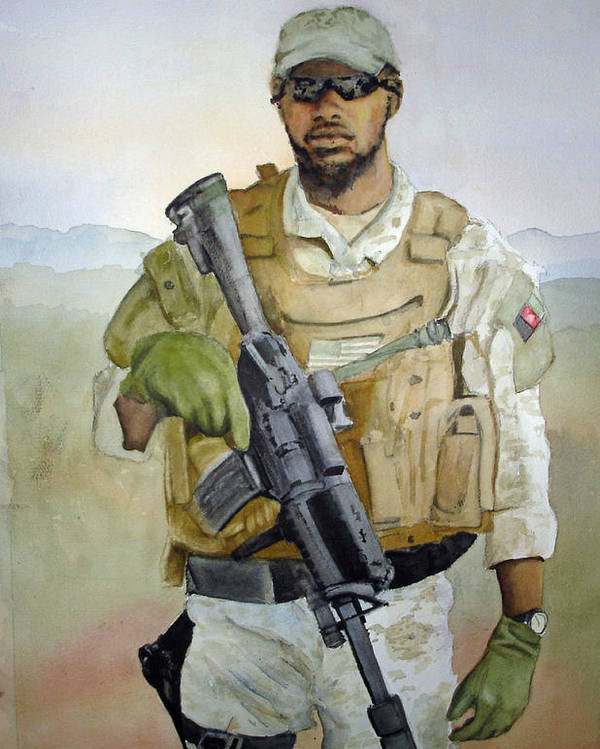 Soldier Poster featuring the painting Ready by Kerra Lindsey