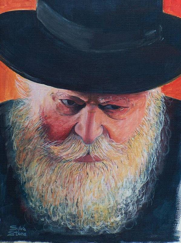 Rebbe Poster featuring the painting Rebbe by Sylvia Stone