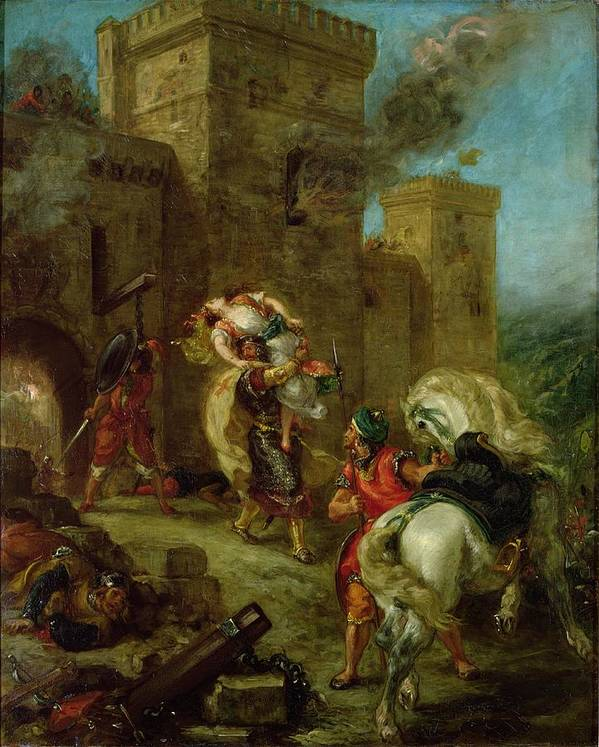 Rebecca Poster featuring the painting Rebecca Kidnapped By The Templar by Ferdinand Victor Eugene Delacroix