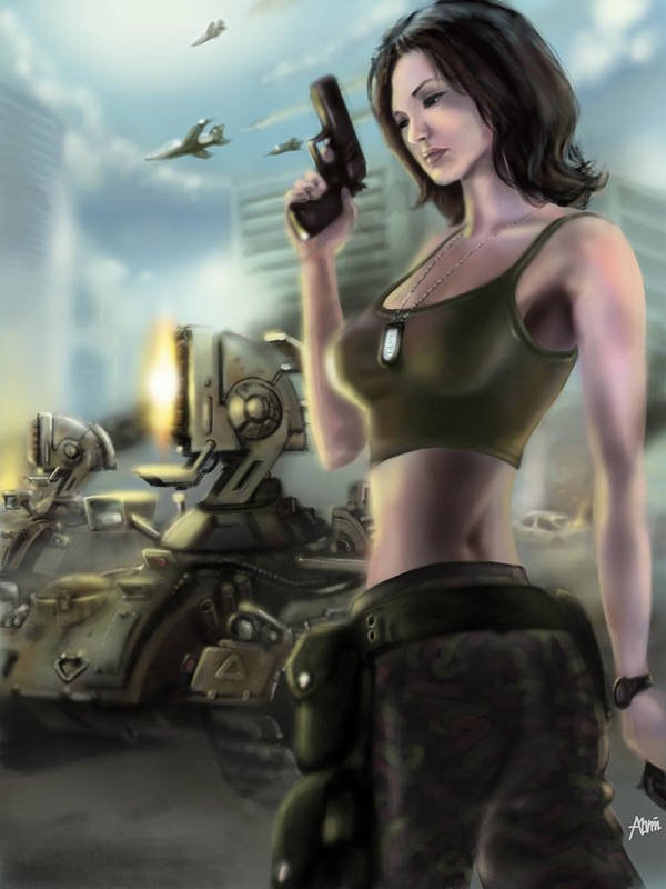 Tanya Poster featuring the digital art Red Alert 2 Tanya by Alvin Goh