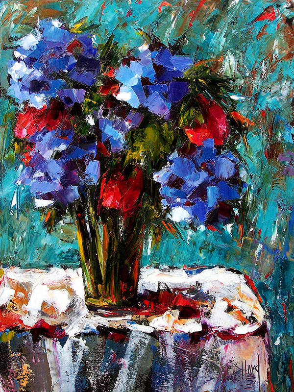 Poster featuring the painting Red And Blue by Debra Hurd