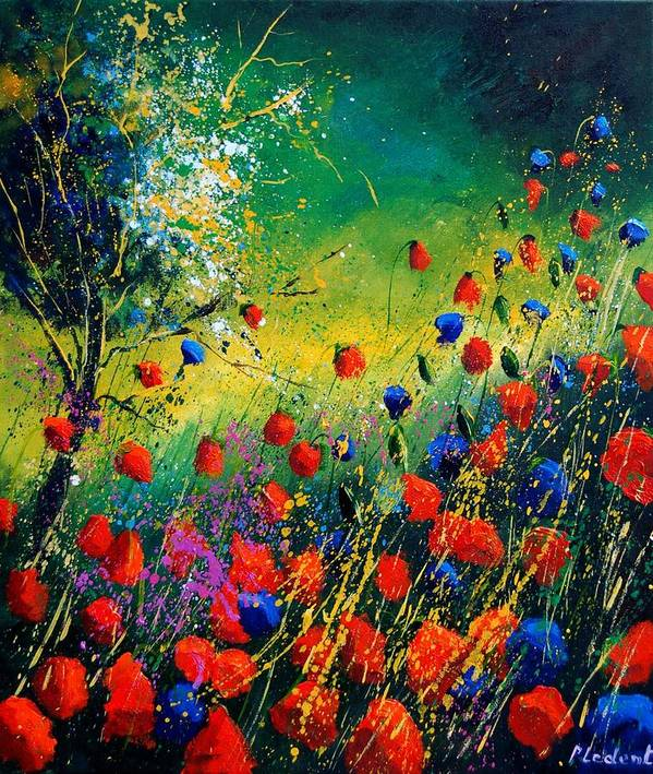 Flowers Poster featuring the painting Red And Blue Poppies by Pol Ledent