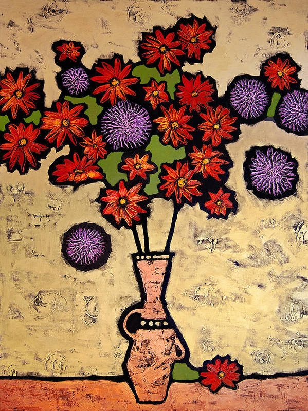 Still Life Poster featuring the painting Red And Purple by Farhan Abouassali