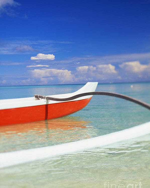 Afternoon Poster featuring the photograph Red And White Canoe by Dana Edmunds - Printscapes