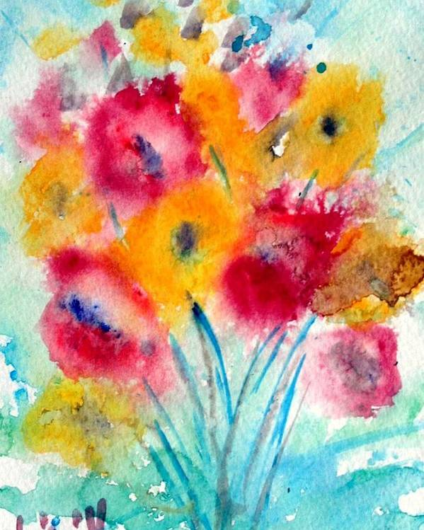 Flowers Poster featuring the painting Red And Yellow Flowers by Luiza Vizoli