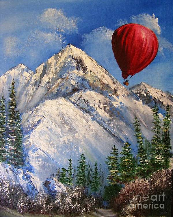Nature Poster featuring the painting Red Balloon by Crispin Delgado