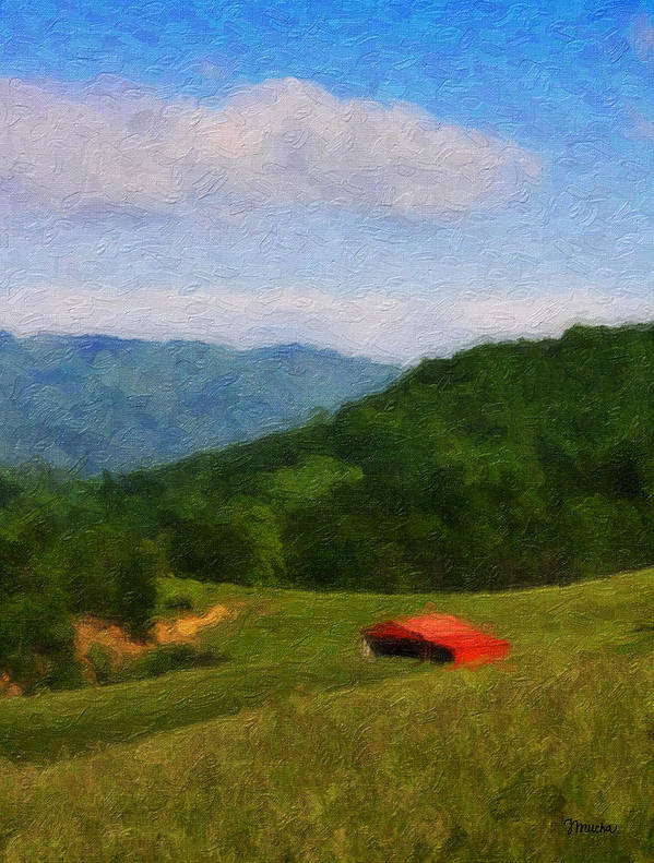 Virginia Poster featuring the painting Red Barn On The Mountain by Teresa Mucha
