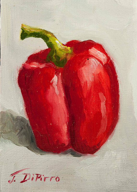 Red Poster featuring the painting Red Bell Pepper by Joni Dipirro