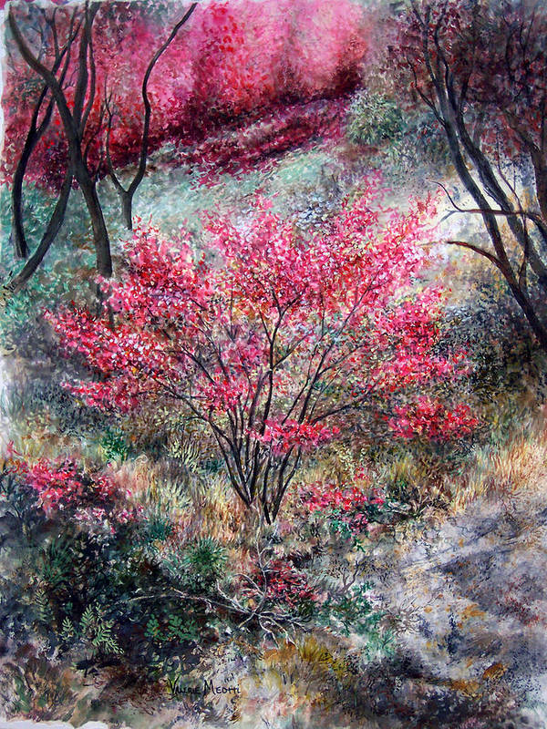 Landscape Poster featuring the painting Red Bush by Valerie Meotti