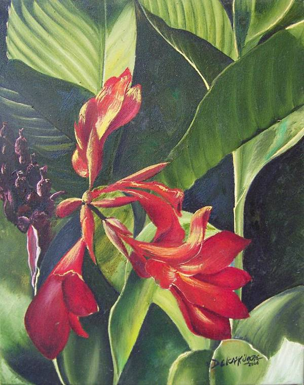 Deleas Poster featuring the painting Red Cannas by Deleas Kilgore