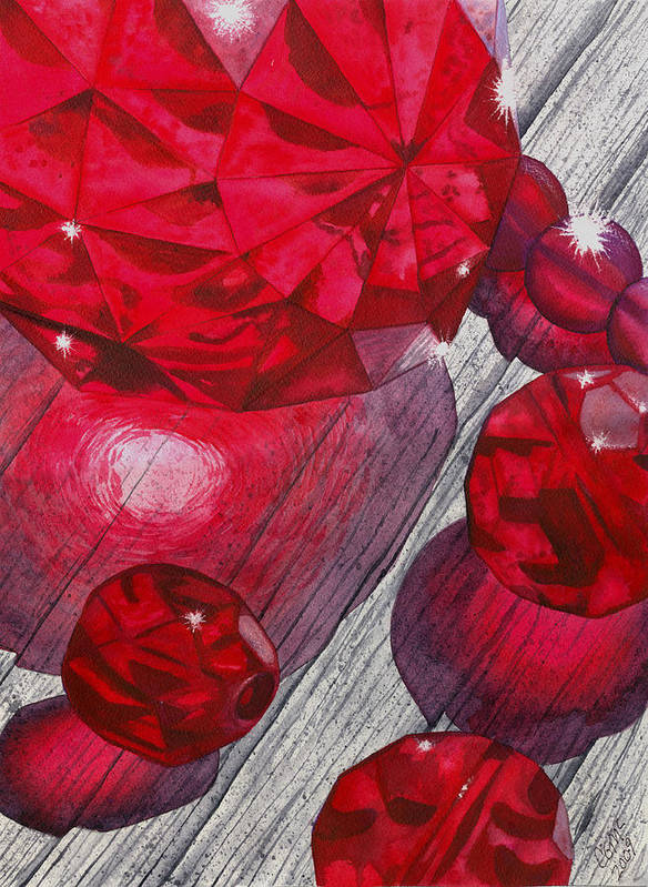 Red Poster featuring the painting Red by Catherine G McElroy