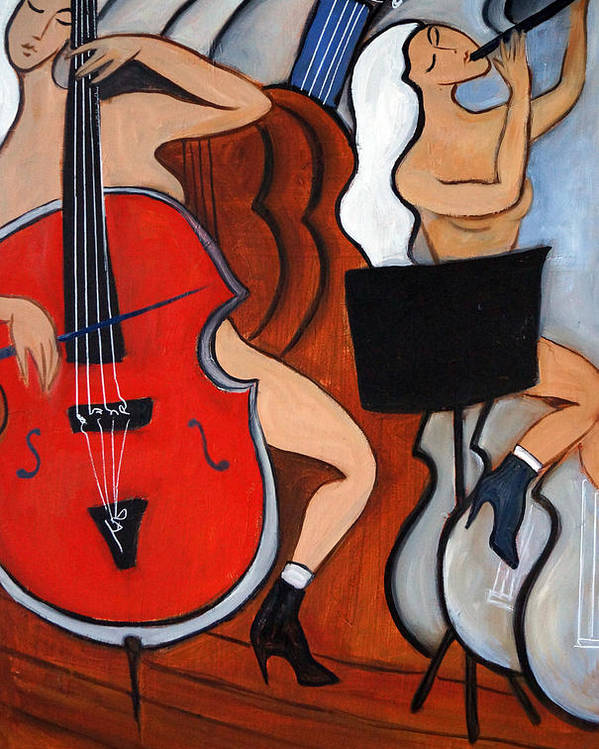 Cubic Abstract Poster featuring the painting Red Cello 2 by Valerie Vescovi