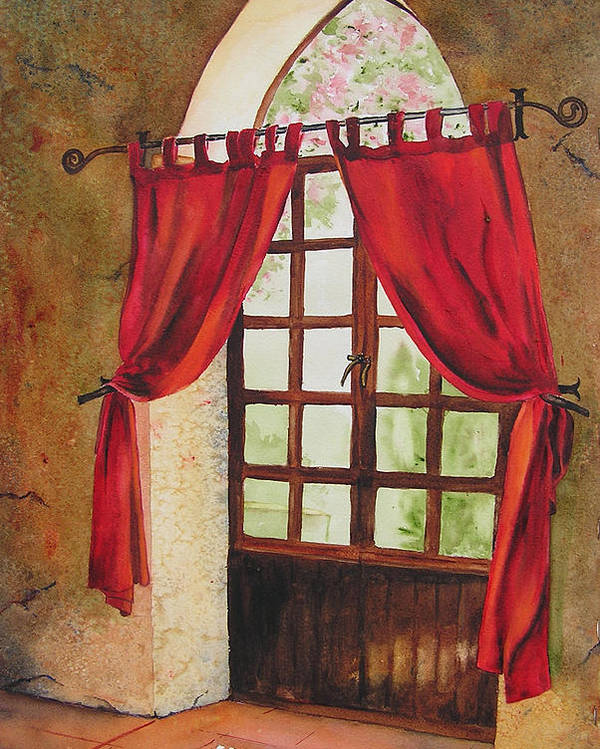 Curtain Poster featuring the painting Red Curtain by Karen Stark