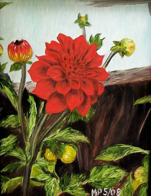 Flower Poster featuring the painting Red Dahlia by Madeleine Prochazka